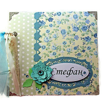 Personalized Baby Boy Photo Book, Baby Scrapbook Album, Baby Boy Photo Album, Pastel Colors Baby Boy Memory Book, Shower Party Gift