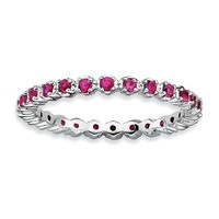 Sterling Silver Stackable Expressions Ruby Eternity Ring
