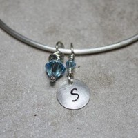 Sterling Silver Bangle with Personalized by JujuBeeJewelryDesigns