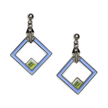 May House Rug Detail Blue Enamel Earrings
