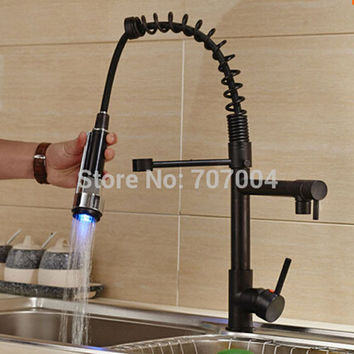LED Clolor  Kitchen Faucet Vessel Sink Mixer Tap Oil Rubbed Bronze