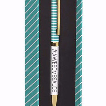 Awesomesauce Pen in Gift Box, Aqua and White Stripe