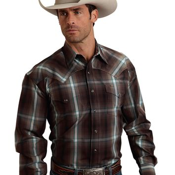 Stetson Mahogany Ombre Plaid Two Pocket Snap Shirt