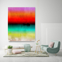 """Abstract Minimalist Rothko Inspired 1-52. Abstract Painting Giclee of Original Wall Art, Blue Red Green Large Canvas Art Print up to 72"""""""