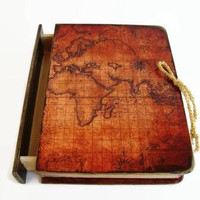Ancient Maritime Map Wooden box, Book type box, An antique map of the world, Old map, The globe map, Antique Maps, Old world map