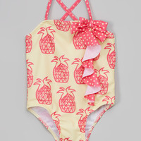 Yellow & Pink Pineapple One-Piece - Toddler & Kids