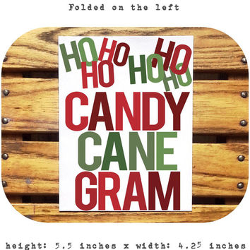 Mean Girls Candy Cane Gram/A2/5.5x4.25 Inch Card/Mean Girls Christmas/Holiday/For Fun/Blank Inside/Custom text options/Envelope Included