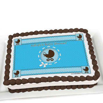 Boy Baby Carriage - Personalized Baby Shower Cake Topper