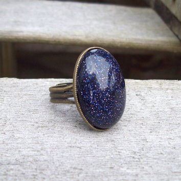 Night Sky -  Blue Goldstone Cabochon Ring   - Adjustable