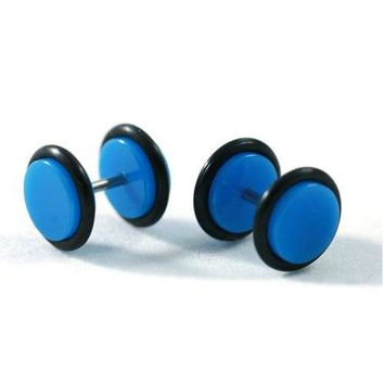 BodyJ4You Fake Plugs Blue Acrylic Gauges 16G Studs Cheater Illusion Jewelry