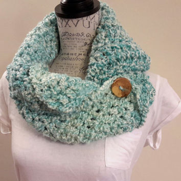 Crochet Ocean button scarf. Katniss inspired cowl. Wood button cowl. Button scarf.