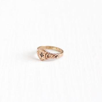Vintage 10k Rose Gold Star Incised Rose Cut Diamond Baby Ring - Size 1/3 Antique 1900s Edwardian Fine Pinky Midi Children's Jewelry