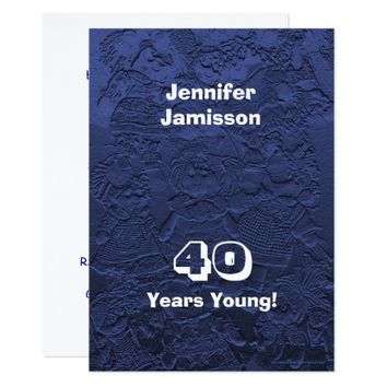 40th Birthday Party Dark Blue Dolls Custom Invites