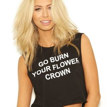 BLQ Basic Go Burn Your Flower Crown Muscle Tee in Black as seen on Beyonce | Boutique To You