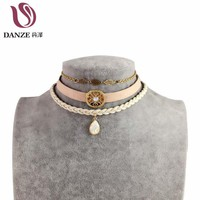 DANZE 2017 Fashion Handmade Retro Leather Choker Necklaces Women Cute Lace Chain Colar Chockers Boho Collier Jewelry 3 Pcs/set