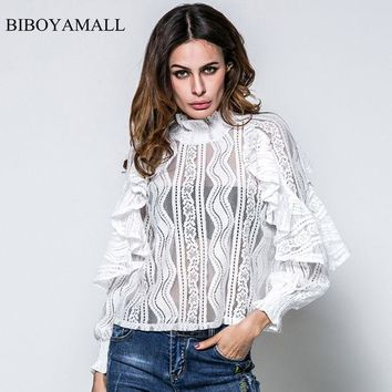 LMFONHS BIBOYAMALL Women Blouses 2017 New Lace Ruffles Butterfly Long Sleeve Blouse Women's Tops Clothing Fammer Sexy Perspective Shirts