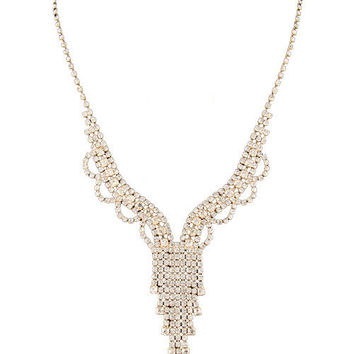 Drop Rhinestone Necklace- Gold