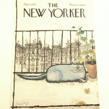 The New Yorker Magazine Cover Only, Fat Blue Cat on Balcony, May 6, 1972 Cover, Unique Wall Art, Vintage Magazines