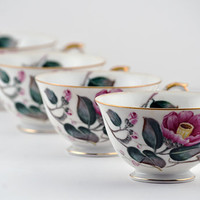 Yamaka Poppy 4pc set, Footed Cups, Occupied Japan