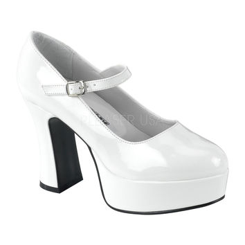 Funtasma Mary Jane White Patent Ankle Strap Pumps