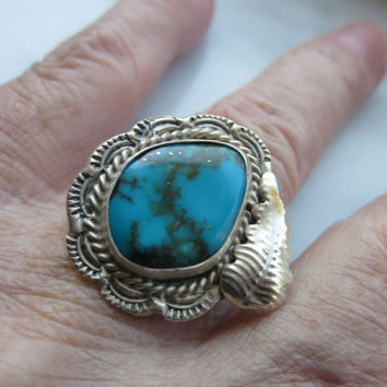 925 sterling silver genuine turquoise crafted ring Native American sterling turquoise rings Southwestern jewelry stamped 925 heavy silver