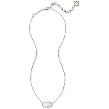 Kendra Scott: Elisa Silver Pendant Necklace In White Mother of Pearl