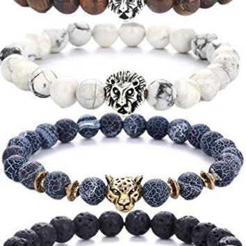SHIP BY USPS: Pusheng Lava Rock Stone Bead Bracelets Set Beeded Lion Leopard Elastic Bracelet,8MM