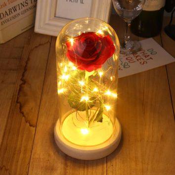 Beauty and the Beast Red Rose in a Glass Dome on a Wooden Base for Valentine's Gifts LED Rose Lamps