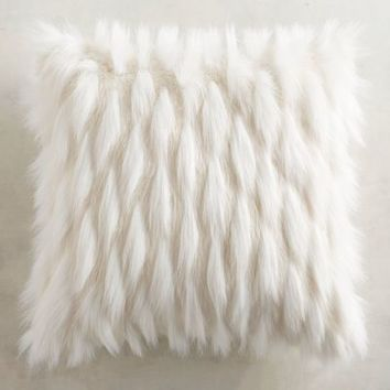 Ivory Faux Fur Eyelash Pillow