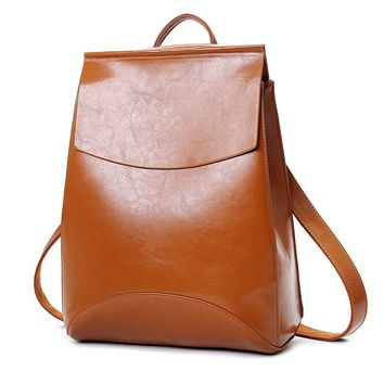 Leather Backpack Women Backpacks For Teenage Girls School Bags Black Summer Brand Vintage Backpack Mochilas Mujer #12BA31/9-2
