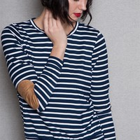 Iris Los Angeles Striped Long Sleeve Top With Elbow Patches - Navy