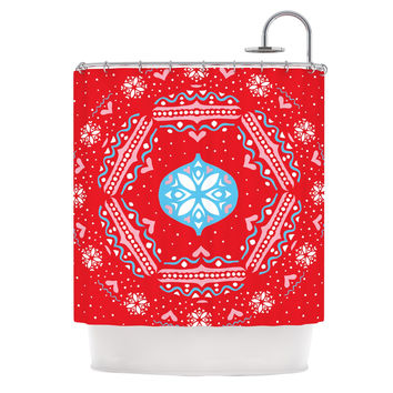 "Miranda Mol ""Snow Joy Red"" Blue Shower Curtain"