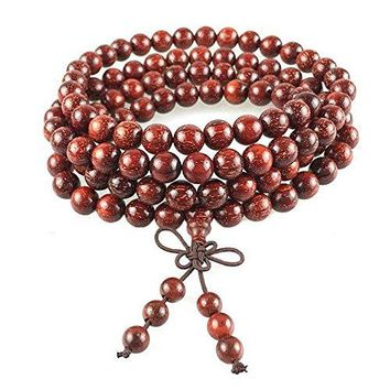 Indian Red Sandalwood Bracelet Beads Tibetan Buddhist Prayer Beads Mala Amulet (8mm 108 Bead)