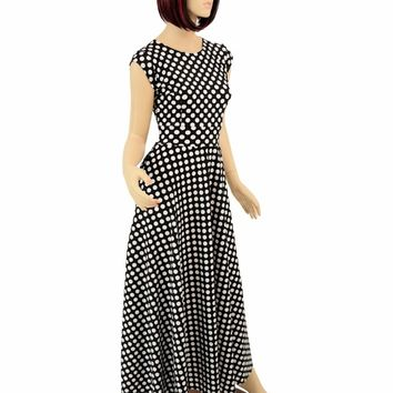 "Maxi Length ""Melissa"" Gown in Polka Dot"