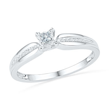 10kt White Gold Womens Princess Diamond Solitaire Promise Bridal Ring 1/6 Cttw 100750