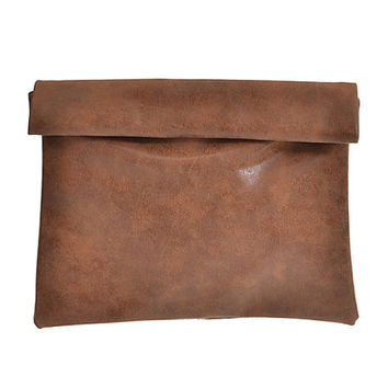 Faded Tone Vintage  Faux Leather Clutch-Brown
