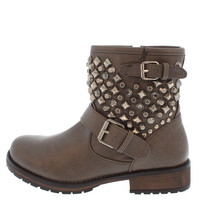 ROCKER24 TAUPE STUDDED BUCKLE SHORT MOTO BOOT