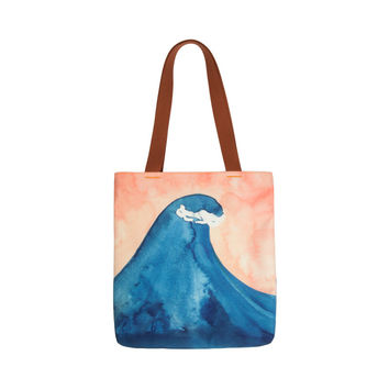 Wave Watercolor Tote Bag