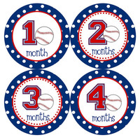 Baby Month Stickers Monthly Onesuit Stickers Baby Boy Red Blue Baseball Sports Onesuit Month Stickers Baby Shower Gift and Photo Prop Logan3