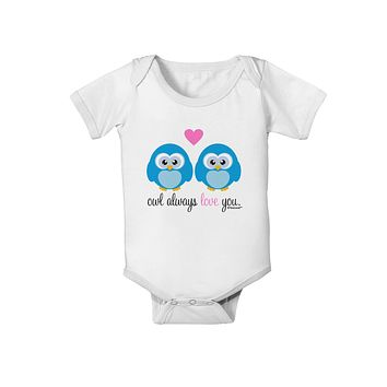 Owl Always Love You - Blue Owls Baby Romper Bodysuit by TooLoud