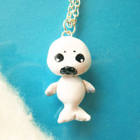 Baby Seal necklace Animal totem by FlowerLandShop on Etsy