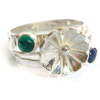 Flower ring gemstone stack set Sterling silver by WatchMeWorld