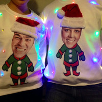 PERSONALIZED Light Up Ugly CHRISTMAS SWEATER!!!  Put your own face, friend, or pet on an elf body!!  This sweater will win all parties!!!