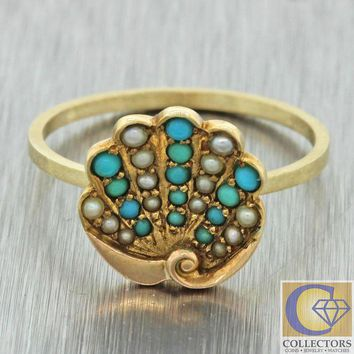 DCKL9 Antique Art Deco 14k Yellow Gold Turquoise Seed Pearl Palm Leaf Conversion Ring