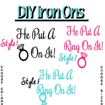DIY Iron On, Put Ring On Bride with Diamond Ring Iron On, Shirt Transfer