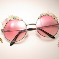 Eden Garden Party Hand Embroidered Round Half Pink Sunglasses - Fashion Eyewear - pink lenses glasses