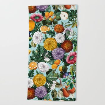 Summer Fruit Garden Beach Towel by burcukorkmazyurek