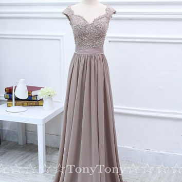 Lace Appliqued Prom Dresses with Cap Sleeves,Long Chiffon Dresses for Bridesmaid,Wedding Party Dress