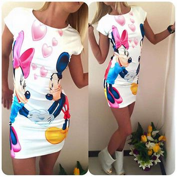 2016 New Sexy Women Fashion Cute minie Minnie Mouse Printed Bodycon Party Dress