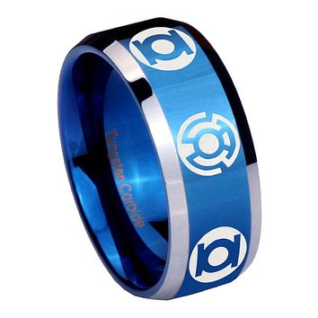 8mm Green Blue Lantern Beveled Edges Blue 2 Tone Tungsten Mens Ring Engraved